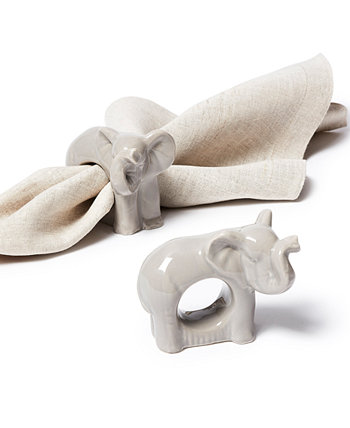 Exotic Escape Elephant Napkin Rings, Set of 4, Created for Macy's Martha Stewart Collection