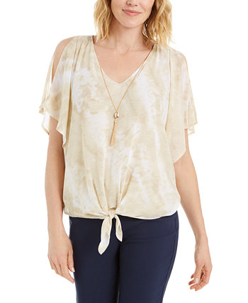 Petite Split-Sleeve Necklace Top, Created for Macy's J&M Collection
