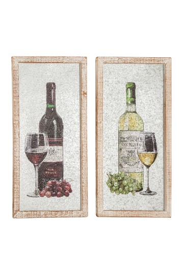 Vintage Wine Bottle With Glass And Grapes In A Whitewashed Wood Frame - Set of 2 Willow Row