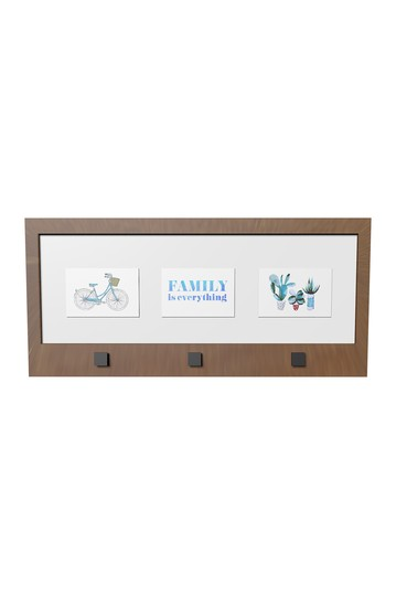 Natural Brown Photo Frame With Hanging Hooks PTM Images