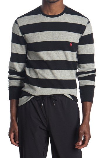 Waffle Knit Rugby Stripe Sweater Polo