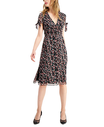 Floral-Print Tie-Sleeve Dress, Created for Macy's Bar III