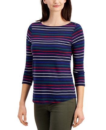 Petite Cotton Striped Top, Created for Macy's Charter Club