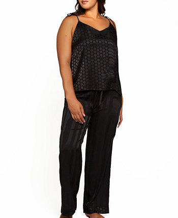 Plus Size Delphine Circle Cami and Striped Pant, Set of 2 ICollection