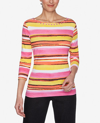 Women's Misses Knit Painterly Top Ruby Rd.