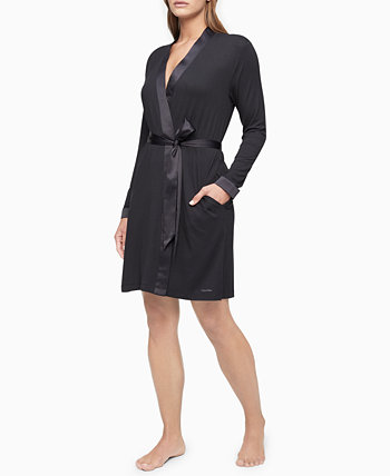 Satin-Trim Wrap Robe Calvin Klein