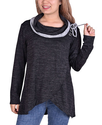 Women's Long Sleeve Crossover Front Cowl Neck NY Collection