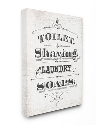 "Vintage-Like toilet Shaving Laundry and Soaps Typography Sign Canvas Wall Art 30"" L x 1.5"" W x 40"" H Stupell Industries"