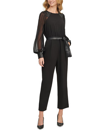 Chiffon-Sleeve Faux-Leather-Trim Cropped Jumpsuit Calvin Klein
