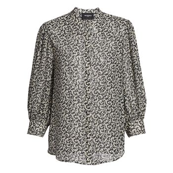 Abstract Print Silk Blend Blouse The Kooples