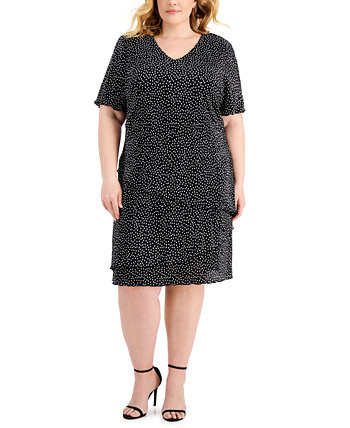 Plus Size Pleated Dot-Print Tiered Dress Connected