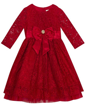 Big Girl Lace 3/4'' Sleeve Dress With Mesh Ruffle Rare Editions