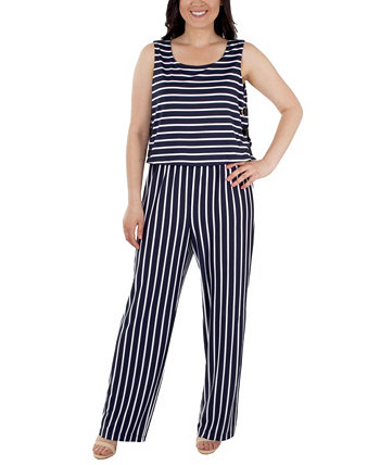 Women's Sleeveless Striped Jumpsuit NY Collection
