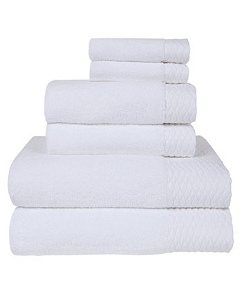 Kelso Solid with Wave Jacquard Cuff Bath Towel Set, 6 Piece American Dawn