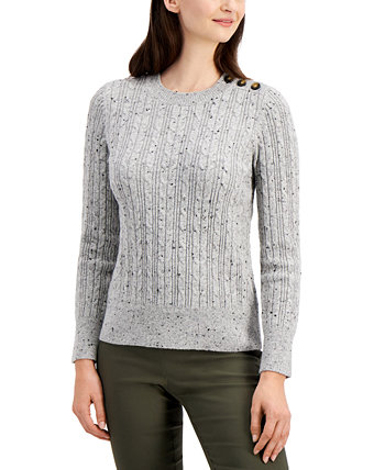 Button-Shoulder Cable-Knit Sweater, Created for Macy's Charter Club