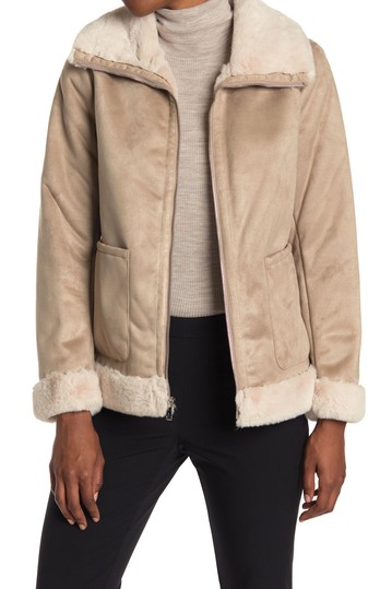 Faux Fur Lined Zip Front Jacket Ralph Lauren