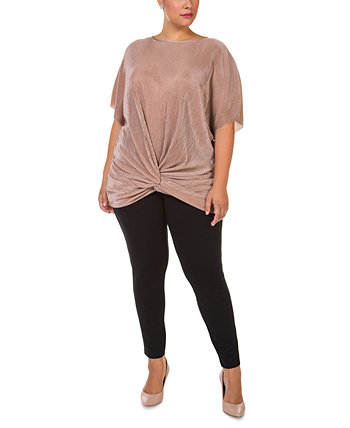 Plus Size Twist-Front Top Black Tape