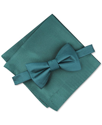 Men's Solid Textured Pre-Tied Bow Tie & Solid Textured Pocket Square Set, Created for Macy's Alfani
