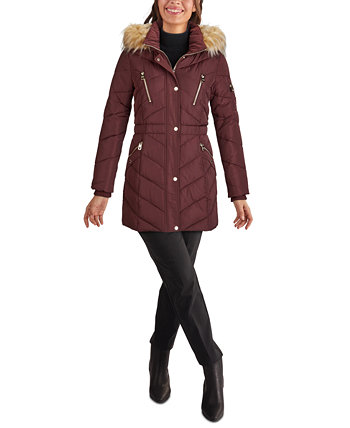 Faux-Fur Trim Hooded Puffer Coat, Created for Macy's GUESS