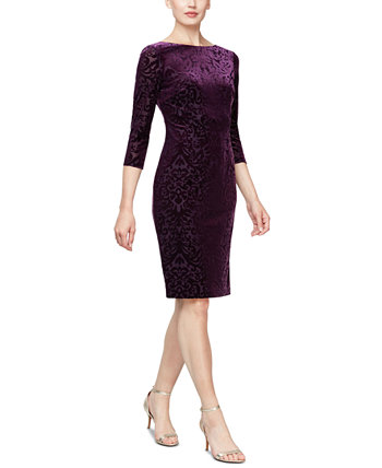 Glitter Velvet-Burnout Sheath Dress SL Fashions