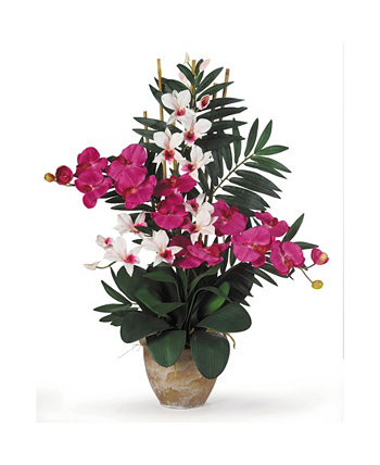 Double Phalaenopsis/Dendrobium Silk Flower Arrangement NEARLY NATURAL