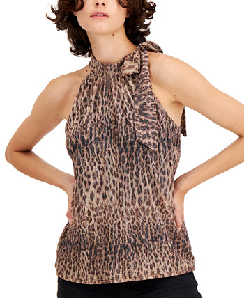 INC Animal-Print Tie-Neck Halter Top, Created for Macy's INC International Concepts