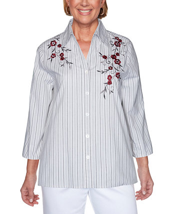 Petite Madison Avenue Embroidered Stripe Top Alfred Dunner