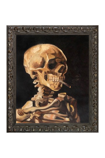 Skull of a Skeleton with Burning Cigarette by Vincent Van Gogh Framed Hand Painted Oil Reproduction No brands