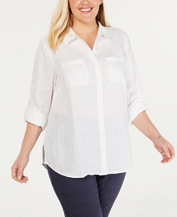 Plus Size Linen Utility Shirt, Created for Macy's Charter Club