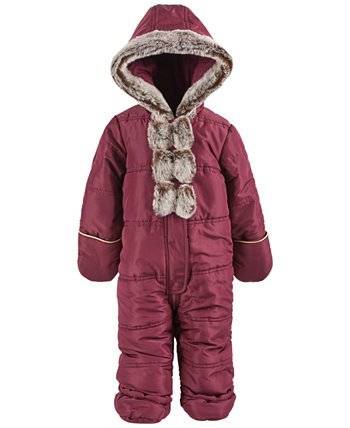 Baby Girls Faux-Fur Bow Snowsuit, Created for Macy's First Impressions