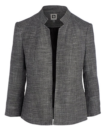Stand-Collar Tweed Blazer Anne Klein