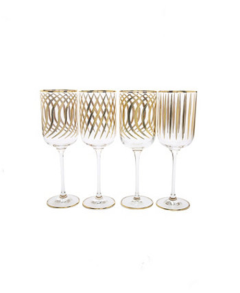 Set of 4 Mix and Match Design Water Glasses with 24K Gold Design Classic Touch
