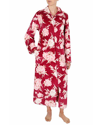 Floral-Print French Terry Long Zipper Robe Miss Elaine