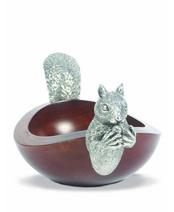 Pewter Metal Squirrel Head and Tail Wood Nut Bowl Vagabond House