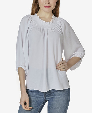 Women's On or Off The Shoulder 3/4 Sleeve Peasant Top Adrienne Vittadini