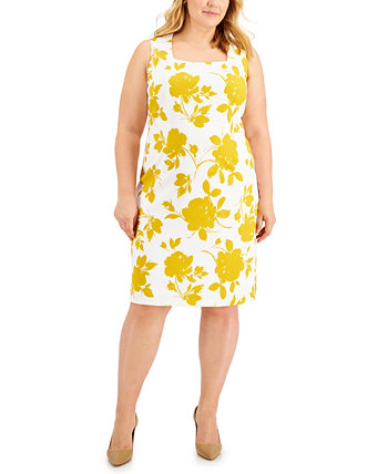 Plus Size Printed Sleeveless Square-Neck Dress Kasper