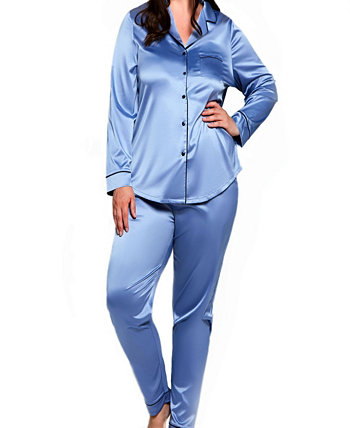 Women's Plus Size Notch Collar Pajama Pant Set ICollection
