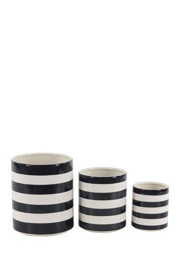 White/Black Striped Planter - Set of 3 Willow Row