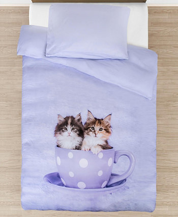 Teakup Kitties Comforter with Removable Cover Toddler Size 3 Piece Bedding Set Tadpoles