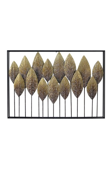 "Large - Rectangular Whitewashed Gold Leaves Metal Wall Decor - 40"" x 28 Willow Row"