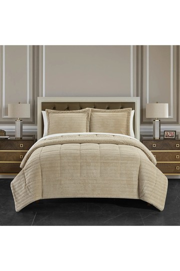 Rashid Ribbed Texture Microplush Faux Shearling Lined Queen Comforter 3-Piece Set - Бежевый No brands