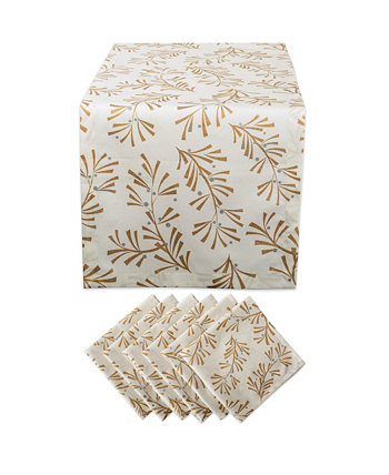 Metallic Holly Leaves Table Runner and Napkin, Set of 2 Design Imports