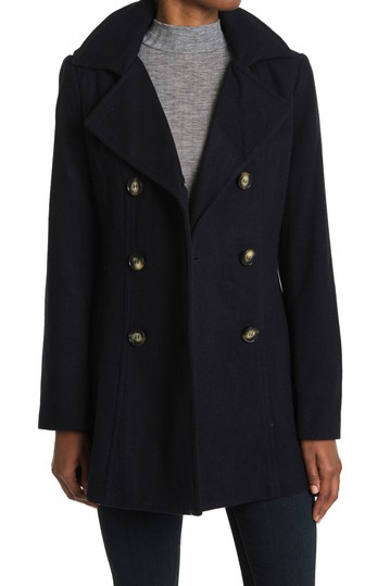 Double Breasted Wool Blend Peacoat Nautica