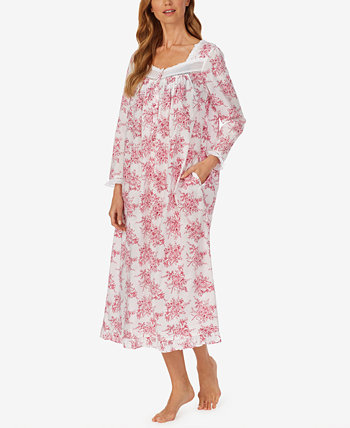 Floral-Print Long-Sleeve Cotton Ballet Nightgown Eileen West