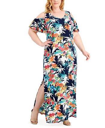 Plus Size Printed Cold-Shoulder Maxi Dress Connected