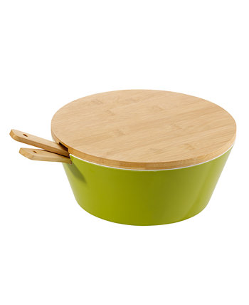 Mod 4 Piece Salad Serve Bowl with Lid and Servers Over and Back