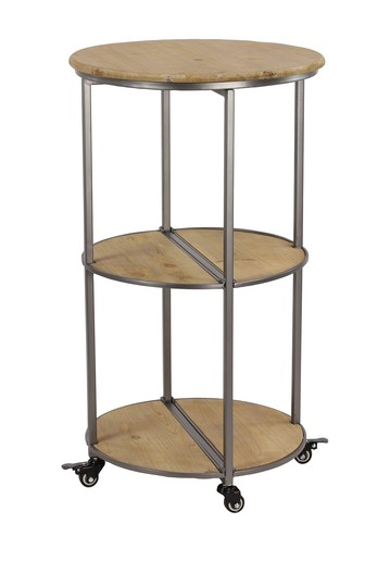 3-Tier Wood & Metal Collapsible Rolling Bar Cart Willow Row