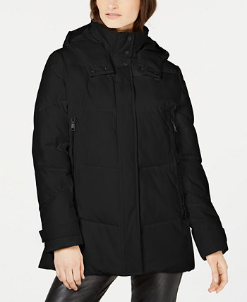 Hooded Double Zipper Puffer Coat Vince Camuto
