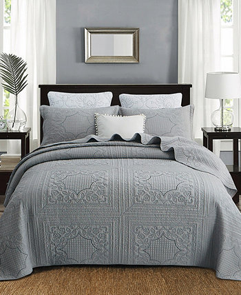 Nisha Embroidered Cotton Quilt 3-Pc Set JANEEN HOME