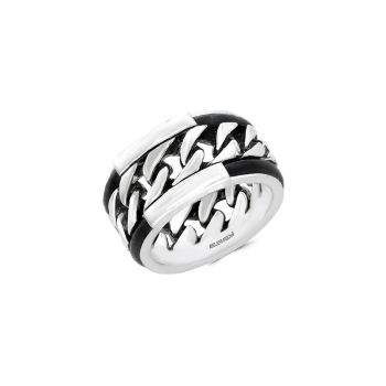 Leather and Sterling Silver Ring Effy